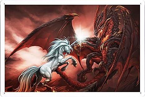 Amazon.com: Abstracto Sign – Unicornio Lucha Batalla Dragon ...