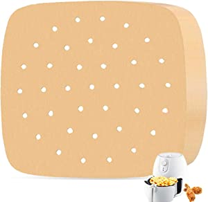 200Pcs 8.5 Inch Air Fryer Parchment Paper Liners,Unbleached Square Air Fryer Liners,Perforated Steam Paper Bamboo Steamer Paper for Air Fryer,Steaming Basket,Baking,Ovening