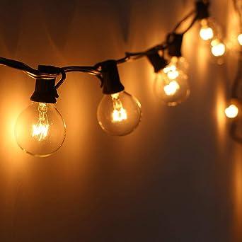 25 Bombillas Luces De Adorno G40 Guirnalda De Navidad Guirnalda De Jardín Al Aire Libre Boda Patio Calle Luces De Hadas Blanco Cálido: Amazon.es: Iluminación