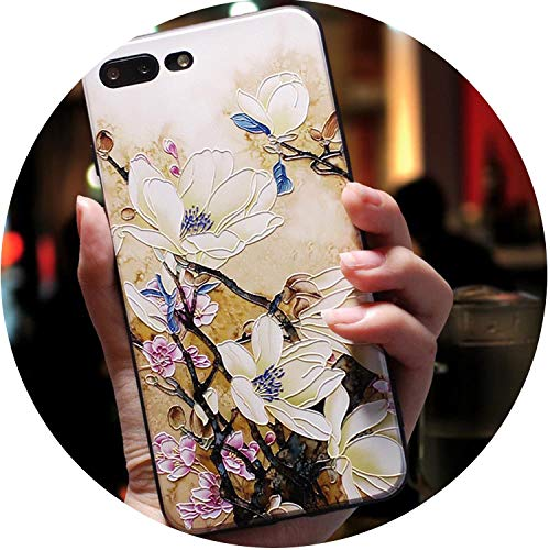 Cute 3D Emboss Cartoon Patterned Phone Case for iPhone X 8 7 6 6S Plus Cases Soft Silicone Cover for iPhone 5 5s SE Coque,Peach Blossom,for iPhone 7