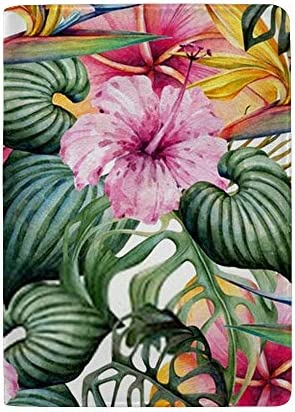 パスポートカバー スキミング防止 本革 パスポートケース 出張 旅行 カードパッケージ 旅行便利グッズ 多機能 旅券ケース 熱帯の葉と花の水彩パターン 男女兼用