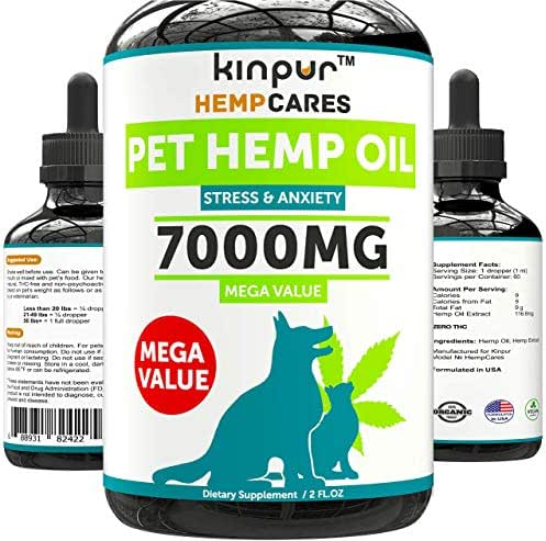 Hemp Oil for Dogs & Cats - 7000mg - Anxiety Relief for Dogs & Cats - Pet Hemp Oil - Supports Hip & Joint Health - Grown & Made in USA - Natural Relief for Pain - Omega 3, 6 & 9