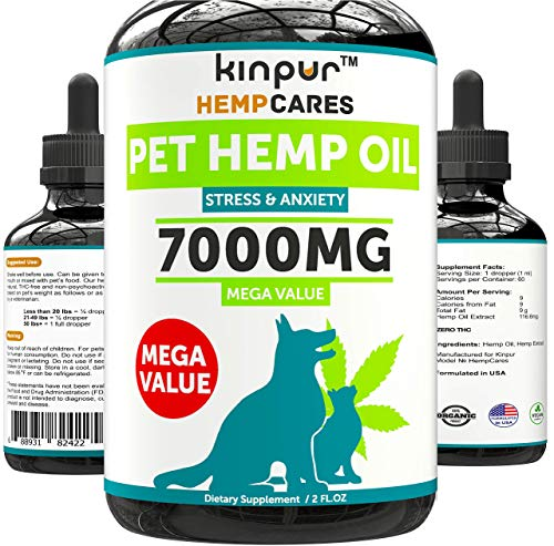 Hemp Oil for Dogs & Cats - 7000mg - Anxiety Relief for Dogs & Cats -...