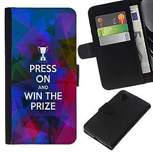 All Phone Most Case / Oferta Especial Cáscara Funda de cuero Monedero Cubierta de proteccion Caso / Wallet Case for LG Nexus 5 D820 D821 // BIBLE Press On And Win The Prize