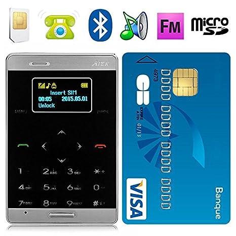 Mini teléfono móvil libre formato tarjeta de crédito, negro ...