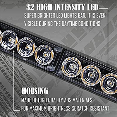 White Emergency Strobe Light Bar 36 Inch 13 Flash Patterns Traffic Advisor Warning Hazard Windshield Light Bar Safety Lights with Cigar Lighter for Police Vehicles, Cops Truck (35.5 Inch,White 32 Led): Automotive