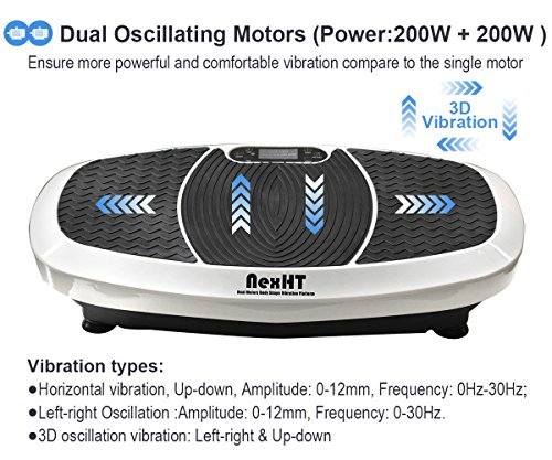 NexHT Dual Motors Fitness Vibration Platform,Whole Body Shape Exercise Machine (89013A),Vibration Plate Fit Massage Workout Trainer with Resistance Bands &Remote, Max User Weight 330lbs,White by NexHT (Image #4)