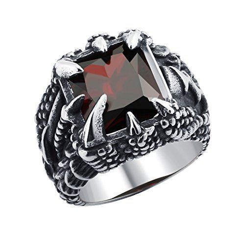 Cool Mens Dragon Claw Ring Dark Red Cubic Zirconia Punk Party Jewelry Birthday Gift for Boys Size 8
