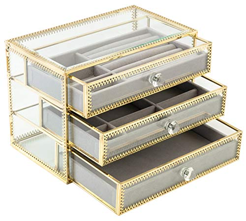 ORIGIA Jewelry Box Decorative Glass Metal Lace Jewelry Organizer Storage Boxes with 3 Drawers Jewelry Display Tray for Earrings Rings Necklaces Bracelets