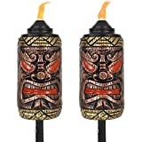 Sunnydaze Tiki Face Outdoor Lawn Patio Torch, 24- to 66-Inch Adjustable Height, 3-in-1, Set of 2