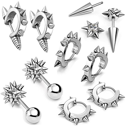 (Aroncent 10 PCS Stainless Steel Men Women Ear Stud Earring Huggies Piercing Spike Rivet Cone Taper Silver)