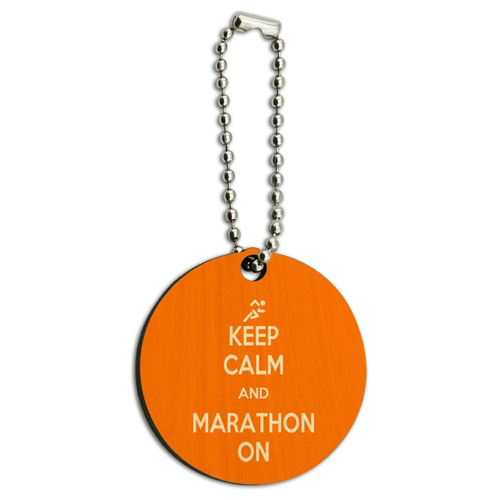 Keep Calm And Marathon On Runner Running Wood Wooden Round Key Chain