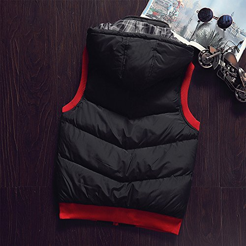 Windproof Hoodie Coat Black Sleeveless Jacket Zipper Men's Vest Down Waterproof Hooded KINDOYO Down Winter Outwear 7wETCqC