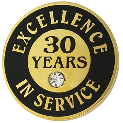 Genuine Austrian Crystal Pin - PinMart Gold Plated Excellence in Service Enamel Lapel Pin w/Rhinestone - 30 Years
