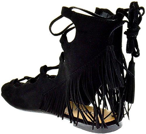 Anna Santafe 5 Mujer's Open Toe Fringe Lace Up Gladiador Sandalias Planas Negro