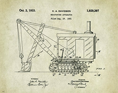 Excavator Patent Poster Art Print 11X14 Wall Decor Picture Vintage Road Construction Heavy Equipment - Excavator Parts Book