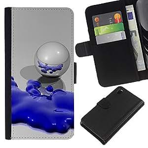 Planetar® Modelo colorido cuero carpeta tirón caso cubierta piel Holster Funda protección Para Sony Xperia Z3 D6603 ( Abstract Blue Robot )