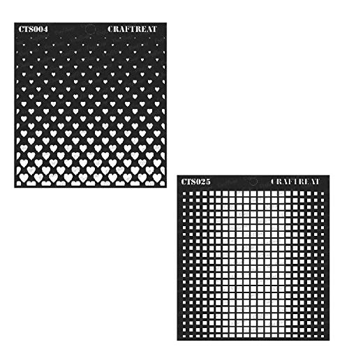 CrafTreat Stencil - Ombre Square & Flying Heart (2 pcs) | Reusable Painting Template for Home Decor, Crafting, DIY Albums, Scrapbook and Printing on Paper, Floor, Wall, Tile, Fabric, Wood 6