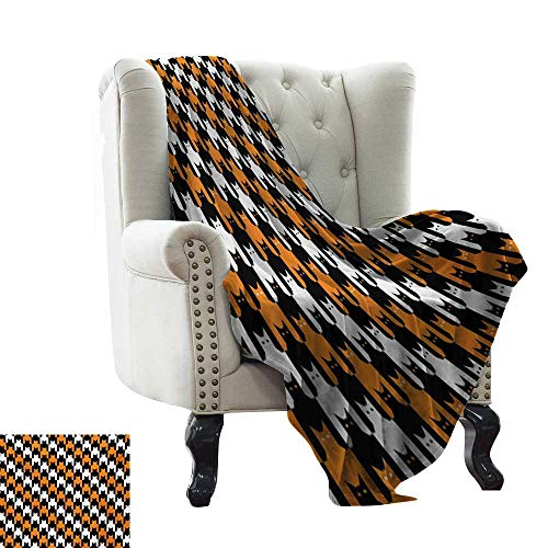 Acelik Throw Blanket Halloween Digital Style Catstooth Pattern Pixel Spooky Harvest Fashion Illustration Lightweight Thermal Blankets W60 x L80 Inch Orange Black White -
