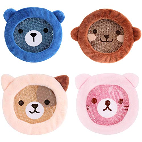 FOMI Premium Kids Hot Cold Ice Packs   4 Pack   Soft Colorful Sleeves   Fun Animal Designed Children Gel Bead Wrap   Pain Relief for Kids Boo Boos, Fever, Wisdom Teeth, Tired Eyes, Headaches