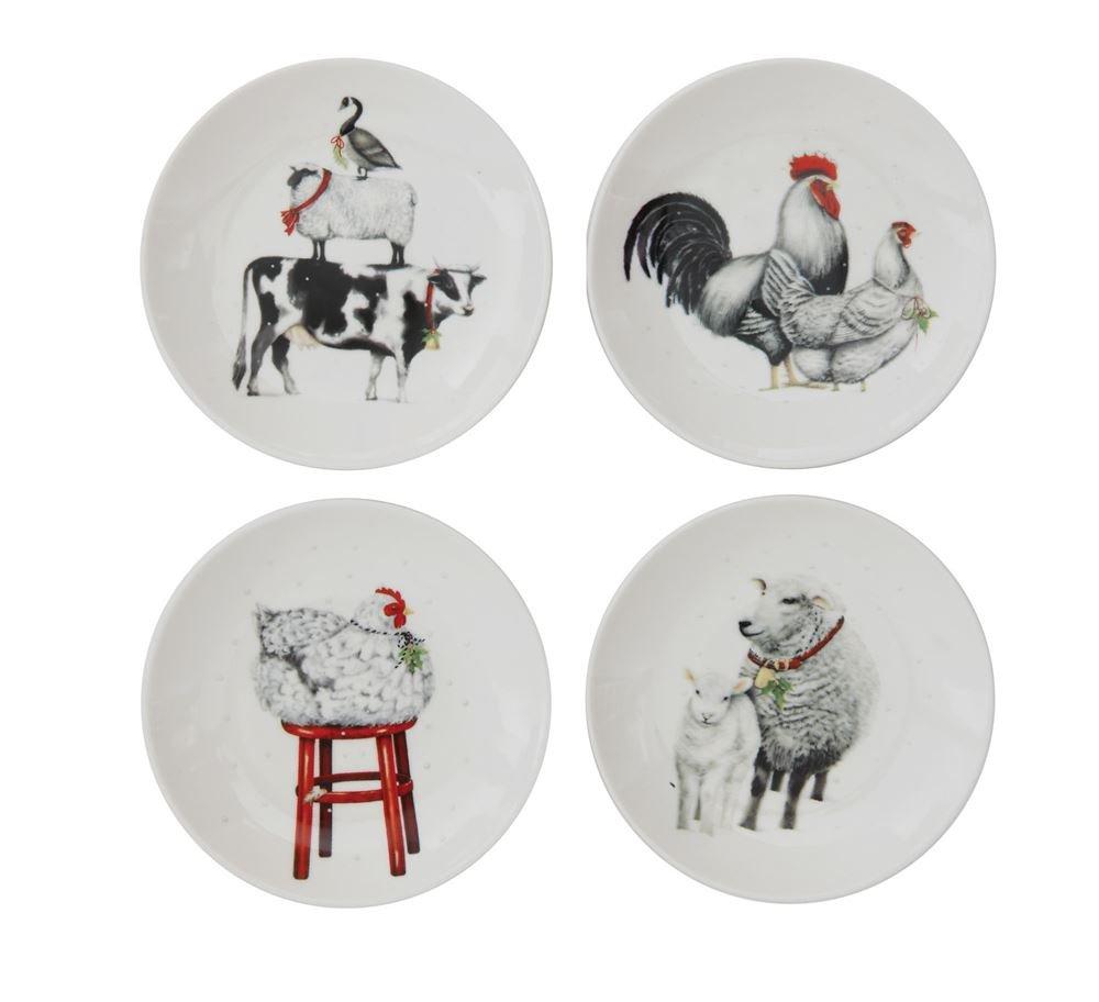 Barnyard Animals Ceramic Plates - Set of 4