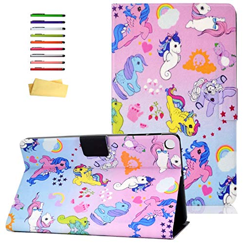 UUCOVERS Folio Cover for Samsung Galaxy Tab A 10.1 Inch Tablet 2019 Case SM-T510/T515, PU Leather [Multiple Viewing Angles Stand] Magnetic Shockproof Shell with Pocket Card Holder, Rainbow Unicorn