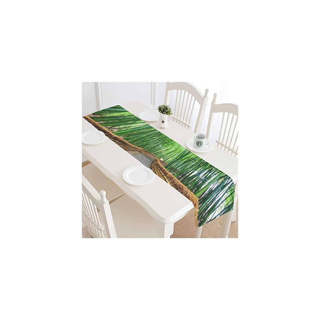 INTERESTPRINT Path to Bamboo Forest Polyester Table Runner Placemat 16 x 72 inch, Spring Green Plant Table Cloth for Office Kitchen Dining Wedding Party Home Decor