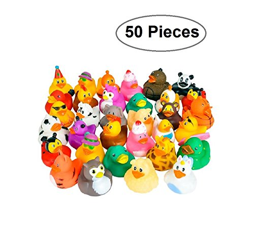 Rubber Ducks -50 Assorted Pieces-2 Inch - For Kids, Party Favors, Gift, Birthdays, Baby Showers, Baby Bath Toys, Bath Time, Party Favors, And More - Kidsco (Luau Rubber)