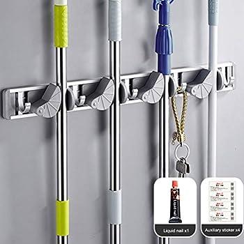 Amazon.com: Multi-functional Mop Rack Senior Aluminum Clip