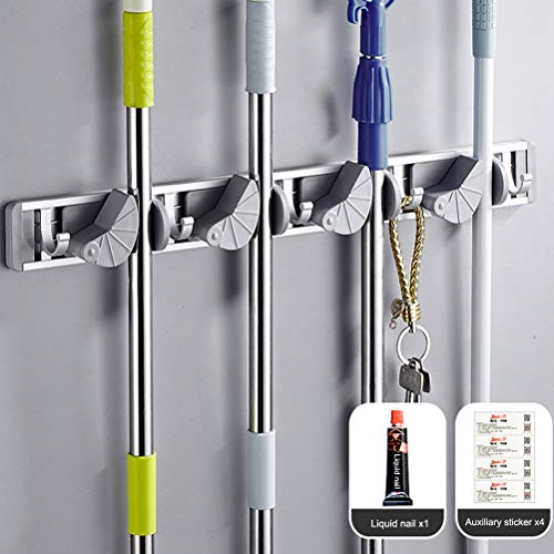 Sunlightam Mop and Broom Holder,4 Position 5 Hooks Wall Mount Rack for Home,Closet,Garden,Garage and Shed (4 Position 5 Hooks)