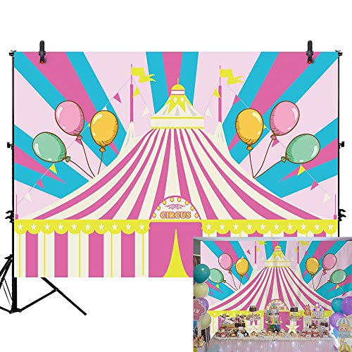 Allenjoy 7x5ft Pink Tent Circus Carnival Theme Backdrop for Girls Kids First 1st Birthday Party Banner Newborn Baby Shower Dessert Table Decorations Colorful Balloons Background Photo Studio Props -