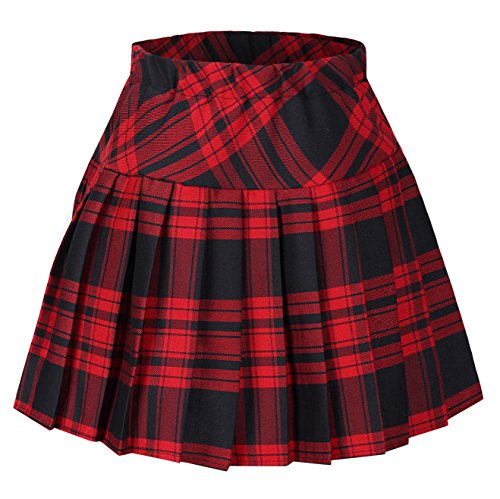 Girl's Classical Pleated School Uniforms Skirt Red and Black (Pleated Girls Skirt)
