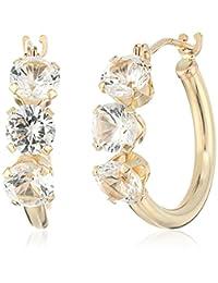 14k Yellow Gold Lab Grown White Sapphire Hoop Earrings
