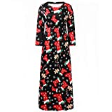 Franterd Merry Christmas Womens Christmas Dress Xmas Print Ugly Christmas Long Evening Party Maxi Dress Plus Size