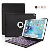 ipad Pro 10.5 Keyboard Case, ONHI Wireless Bluetooth Keyboard Case Aluminum shell Smart Folio Case with 7 Colors Back-lit, Auto Sleep / Wake, Silent Typing, the Screen can be Rotated 135 °(Black)