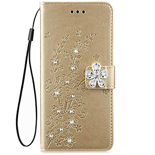 IKASEFU Shiny Rhinestone Emboss Plum blossom Floral Pu Leather Diamond Bling Wallet Strap Case with Card Holder Magnetic Flip Cover Case Compatible with Samsung Galaxy S6,Gold