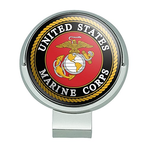 Graphics and More Marines USMC Emblem Black Yellow Red Officially Licensed Golf Hat Clip with Magnetic Ball Marker