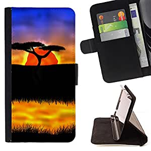 BullDog Case - FOR/LG G2 D800 / - / The African Safari Sunset /- Monedero de cuero de la PU Llevar cubierta de la caja con el ID Credit Card Slots Flip funda de cuer