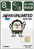 日本国内8日間 無制限 4GLTE 使い放題/365日11ヶ国語カスタマーサポート/ docomo回線 / 4GLTE / 使い切りプリペイドsimカード/同梱説明書6ヶ国語対応/本人確認なし/Japan Travel SIM (マルチカットSIM「3-IN-1 SIM」 / データ量:無制限/利用可能期間:8日間)※新パッケージになりました。中身はマルチカットsimになっております。