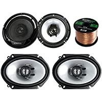 2 Pair Car Speaker Package Of 2x Kenwood KFC-C6865S 6x8 250 Watt 2-Way Sport Series Black Coaxial Speakers + 2x KFC-1665S 6 1/2 Inch 2-Way Audio Speaker + Enrock 16g 50 Ft Speaker Wire