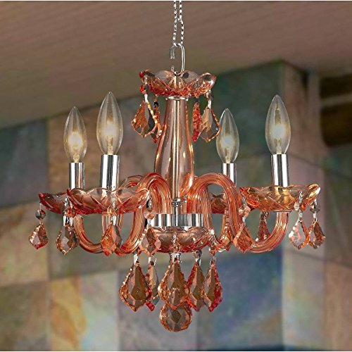 Brilliance Lighting and Chandeliers Kids Room Chandelier Coral 4-Light Full Lead Coral Red Crystal Chrome Finish (Red Coral Chandelier)