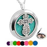 Chaomingzhen Essential Oil Necklace Magnetic Closure Aromatherapy Diffuser Pendant fill Pad Cross Round Photo Locket