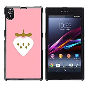 FlareStar Colour Printing Strawberry Minimalist Gold Bling Heart cáscara Funda Case Caso de plástico para Sony Xperia Z1 L39 C6902 C6903 C6906 C6916 C6943