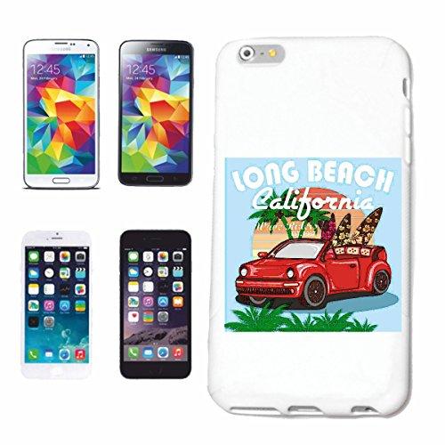 """cas de téléphone iPhone 7 """"LONG BEACH CALIFORNIE SURF BEACH SURFBOARDS WAVES LONGBOARD DE SURF Beginner Shop"""" Hard Case Cover Téléphone Covers Smart Cover pour Apple iPhone en blanc"""