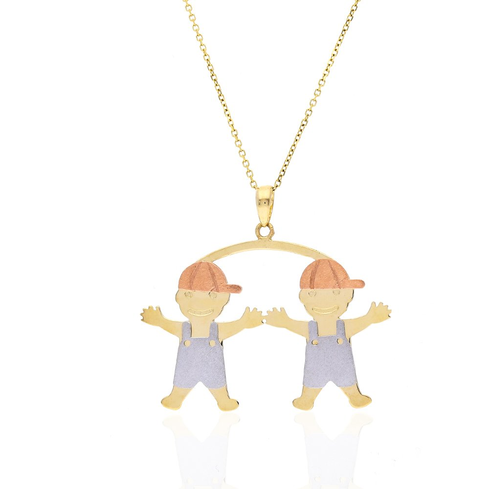 14k Tri-Color Gold Twin Boys Pendant Cable Chain Necklace 16''-18'', Pendant + Chain