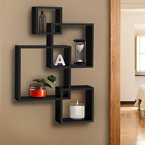 Best Choice Products Wall Mounted Floating Shelf Collection Display Storage Organizer Decor Furniture w/Geometric Intersecting Square Cubby Design - Black