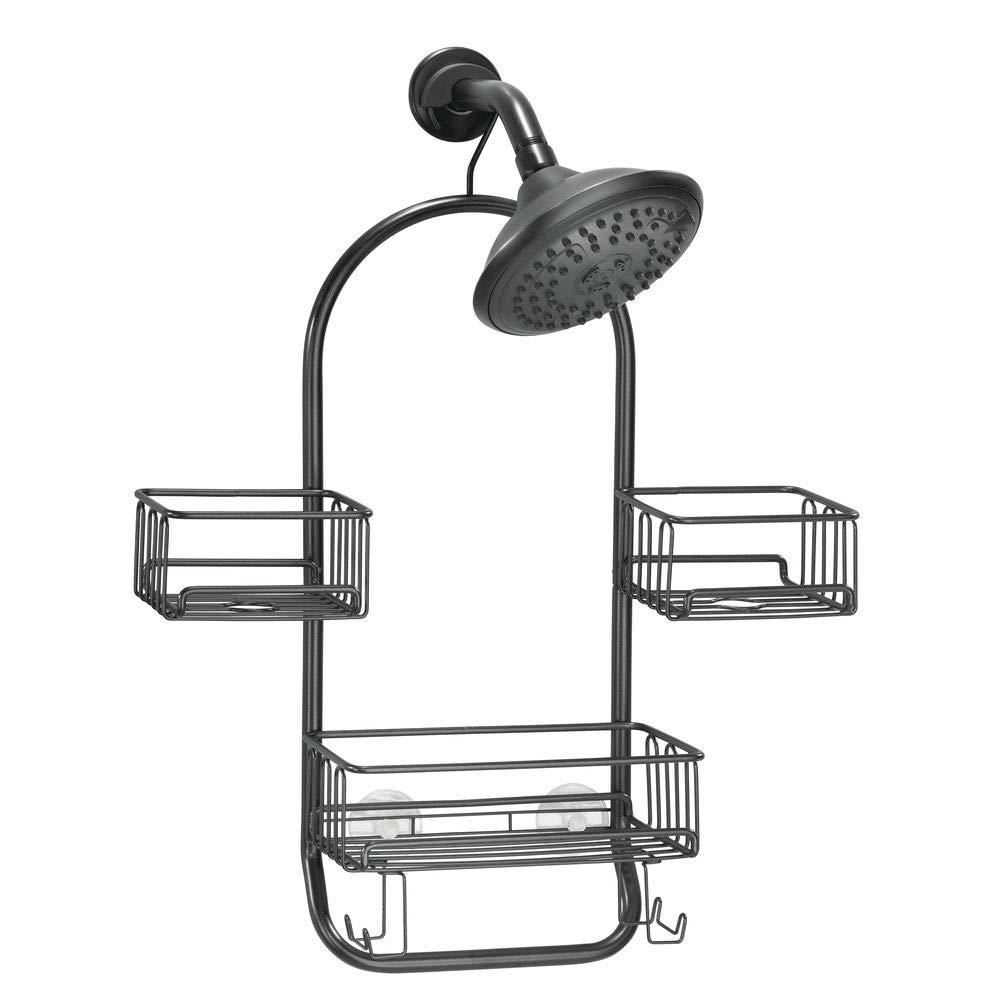 3 baldas para ba/ño para guardar accesorios con 4 ganchos y toallero negro mate mDesign Estanter/ía para ducha colgante Pr/áctica estanter/ía de ba/ño en metal resistente para colgar sin taladrar