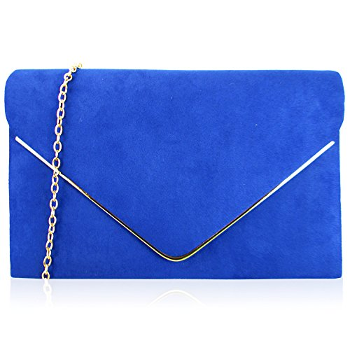 Xardi London New Faux Suede Leather Envelope Women Clutch Designer Ladies Evening Prom Bags Royal Blue