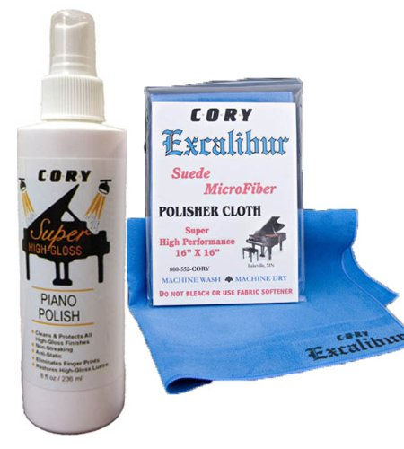 Super High Gloss Piano Polish Bundle - 8oz bottle w/Excalibur Microfiber Polishing Cloth