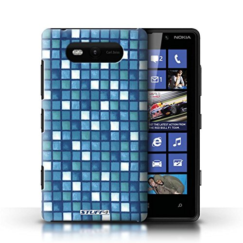 Etui / Coque pour Nokia Lumia 820 / Bleu/Blanc conception / Collection de Carreau Bain